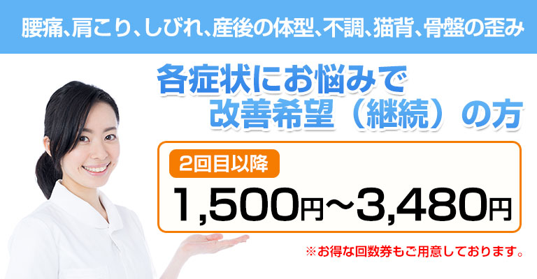 2回目以降の料金1500円~3480円